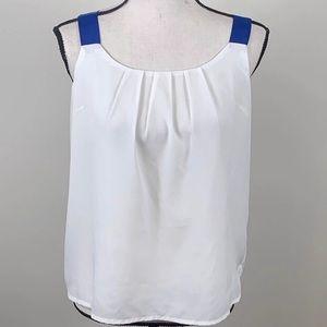 ❤️3/$20 Forever 21 white Blue Shoulder strap tank